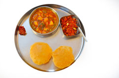 Indian home made spicy food with dessert Royalty Free Stock Photography