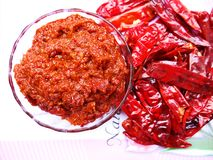 Dried red chilli sauce. Indian homemade traditional dried red chilli sauce royalty free stock image