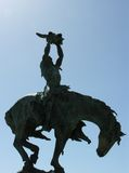 Indian on Horse. Silhouette of a Native American on a horse Royalty Free Stock Photography