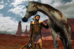 Indian and horse. Young indian, in the Navajo Nation, with his pinto horse Royalty Free Stock Images