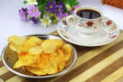 Indian hot chips and coffee Royalty Free Stock Photos
