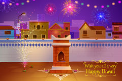 Indian house decorated with diya in Diwali night Stock Photos