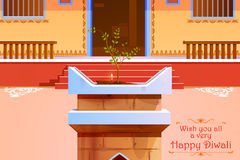 Indian house decorated with diya in Diwali night Stock Image