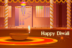 Indian house decorated with diya in Diwali night Stock Images
