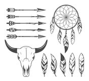 Indian, hunter, tribal objects, vector set Royalty Free Stock Images