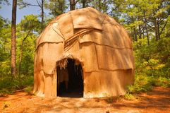 Indian hut. Native American Indian hut in the settlement area in Virginia Beach stock photos