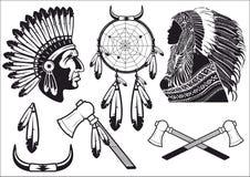 Indian i traditionell dräkt i vektor Dreamcatcher vektor illustrationer