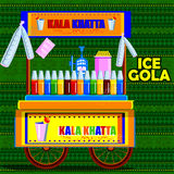 Indian Ice Gola cart representing street food of India. Easy to edit vector illustration of Indian Kala Khatta Ice Gola cart representing street food of India royalty free illustration