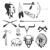 Indian Icons. Native Americans. American Indians Weapon. Royalty Free Stock Images
