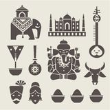 Indian icons. Vector set of indian travel icons Royalty Free Stock Photos