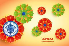 Indian Independence Day abstract background with flowers and ash. Happy Independence Day India. 15th of august. Indian Independence Day abstract background with Stock Photos