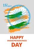 Indian Independence Day with Ashoka wheel 15 th august banner or poster. The colors of the national flag. Vector. Illustration stock illustration