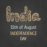 Indian Independence Day, 15 august. Elegant greeting card with hand drawing word India in ethnic mehndi style. Vintage background, vector illustration Royalty Free Stock Photos