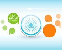 Indian Independence Day background with Ashoka wheel. Abstract colorful background. 15th August, India Independence Day Stock Image