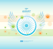 Indian Independence Day background with Ashoka wheel. Abstract colorful background. 15th August, India Independence Day. Celebrations concept national flag Stock Illustration