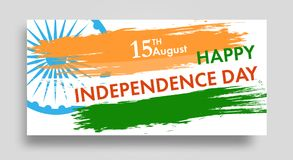 Indian Independence Day background with Ashoka wheel 15 th august banner or poster. The colors of the national flag. Vector. Illustration Royalty Free Stock Photos