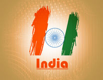 Indian Independence Day background with 3D Ashoka. Vector indian flag in grunge style design Stock Illustration