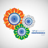 Indian Independence Day background. Happy Independence Day India. 15th of august. Indian Independence Day abstract background with flowers and ashoka wheel for Stock Photography