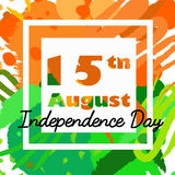 Indian Independence Day background with text 15 of August. Brush strokes texture Royalty Free Stock Photos