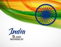 Indian Independence Day Background with Waves and Ashoka Wheel. Royalty Free Stock Photography