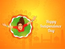 Indian Independence Day background with woman dancing on floral. Background stock illustration