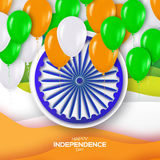 Indian Independence Day. Celebration background with Ashoka wheel. And Realistic 3d Colorful Glossy Balloons. Republic Day. Indian flag. Design concept for 15th Stock Photos