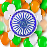 Indian Independence Day. Celebration background with Ashoka wheel. And Realistic 3d Colorful Glossy Balloons. Republic Day. Indian flag. Design concept for 15th Royalty Free Stock Images