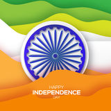 Indian Independence Day. Celebration background with Ashoka wheel. Republic Day. Origami Indian flag. Paper cut Flyer design concept for 15th August. Applique Royalty Free Stock Photos
