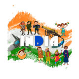 Indian Independence Day celebration concept. Creative illustration showing Indian culture, tradition and strength on national flag color background for Royalty Free Stock Photos