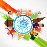 Indian Independence Day celebration concept with diverse culture. Of India and famous monuments vector illustration