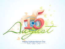 Indian Independence Day celebration with 3D text. 3D glossy text 15 August on national flag waving background for Happy Indian Independence Day celebration Royalty Free Stock Photos