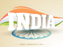Indian Independence Day celebration with 3D text. 3D text India with Ashoka Wheel on national flag tricolor background for Happy Indian Independence Day Stock Images
