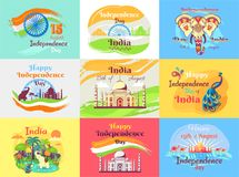 Indian Independence Day Celebration Emblems Set Royalty Free Stock Photography
