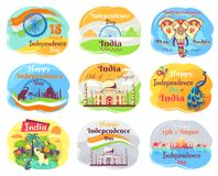 Indian Independence Day Celebration Emblems Set Stock Photo