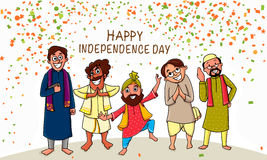 Indian Independence Day celebration with people. Stock Photos