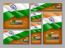 Indian Independence day celebration posters set. 15th of August felicitation greeting vector illustration. Realistic backgrounds with indian flag and ashoka stock illustration