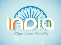 Indian Independence Day celebration with stylish text. Glossy 3D text India in national flag color on Ashoka Wheel decorated shiny sky blue background for Happy Royalty Free Stock Photo