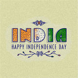 Indian Independence Day celebration with stylish text. Royalty Free Stock Photos