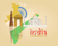 Indian Independence Day celebrations card. 15th of August, Indian Independence Day celebrations card with ashoka wheel and national flag colors on beige Stock Photography