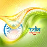Indian Independence Day concept background with Ashoka wheel. Indian Independence Day concept colorful background with Ashoka wheel. Vector Illustration. Flag Stock Illustration