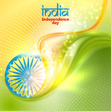 Indian Independence Day concept background with Ashoka wheel. Vector Illustration. Flag India theme background for Republic day Vector Illustration