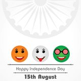 Indian Independence Day concept background with Ashoka wheel. Vector Illustration of Indian Independence Day concept background with Ashoka wheel royalty free illustration
