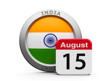Indian Independence Day. Emblem of India with calendar button - The Fifteenth of August - represents the Independence Day in India, three-dimensional rendering Royalty Free Stock Photography