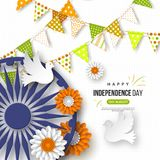 Indian Independence day holiday background. Bunting flags, flower in traditional tricolor of indian flag, 3d wheel with. Shadow, doves, dotted pattern. Vector Stock Images