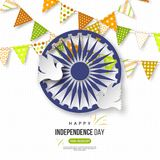 Indian Independence day holiday background. Bunting flags in traditional tricolor of indian flag, 3d wheel with shadow. Doves, dotted pattern. Vector Royalty Free Stock Images