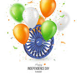 Indian Independence day holiday background. 3d wheel with blur balloons and confetti in traditional tricolor of indian flag. Vector illustration royalty free illustration