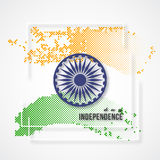 Indian Independence day holiday background. 3d wheel with white frame and halftone effect in traditional tricolor of indian flag. Vector illustration Royalty Free Stock Photos