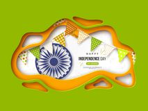 Indian Independence day holiday background. Paper cut shapes with shadow, bunting flags, 3d wheel and halftone effect in. Traditional tricolor of indian flag Stock Image