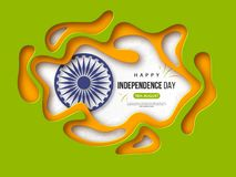 Indian Independence day holiday background. Paper cut shapes with shadow, 3d wheel and halftone effect in traditional. Tricolor of indian flag. Greeting text Stock Photos