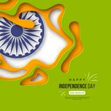 Indian Independence day holiday background. Paper cut shapes with shadow, 3d wheel and halftone effect in traditional. Tricolor of indian flag. Greeting text Royalty Free Stock Photos